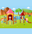 many kids at playground at daytime vector image vector image