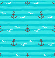 marine pattern seamless anchors gull icons and vector image