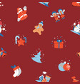 merry christmas seamless background with santa vector image
