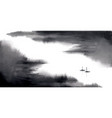 minimalist ink wash painting landscape with vector image