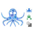 octopus collage of hemp leaves vector image