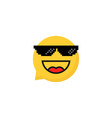 pixelart glasses on laughing emoji bubble vector image vector image