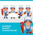 plumber mascot character set logo icon vector image