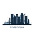san francisco skyline monochrome silhouette vector image vector image