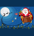 santa claus with gifts flying on a reindeer sleigh vector image