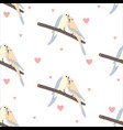 seamless pattern with a cute couple of birds vector image vector image
