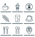 set of 9 restaurant icons includes soda soda vector image vector image
