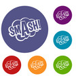 smash comic book bubble text icons set vector image vector image
