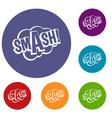 smash comic book bubble text icons set vector image vector image