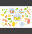 soup preparation set of ingredients vector image vector image