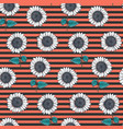 striped pattern with white sketch sunflowers vector image vector image