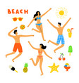 summer lifestyle people at beach cute doodle vector image