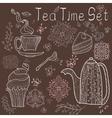 Tea time set card vector image