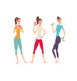 three shapely friends with fitness gadgets posing vector image vector image