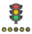 traffic light icon on white background vector image vector image