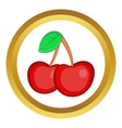 Two cherries icon vector image vector image