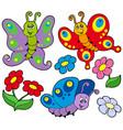 various cute butterflies vector image