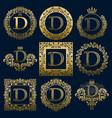 vintage monograms set of d letter vector image vector image