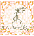 Whimsical greeting card with flower vector image