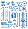 winter sports and activities equipment icons vector image vector image