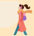 woman walking listening to music on headphones vector image