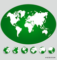 World map and earth globes vector image vector image