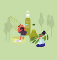 young women use olive oil for cosmetics beauty vector image vector image