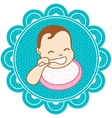 Baby with a spoon vector image