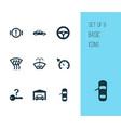 auto icons set with steering wheel door open vector image