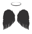 Black Angel Wings and Halo vector image vector image