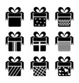 black gift box icons vector image vector image