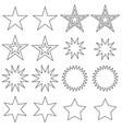 black outline stars digital stamps vector image vector image