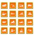 building vehicles icons set orange vector image vector image