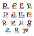 business icons letter p corporate identity vector image vector image