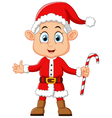 cartoon kid wearing santa costum vector image