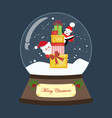 christmas snow globe with santa and gifts vector image vector image