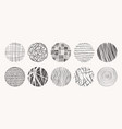 circle textures made with ink pencil vector image
