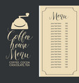 coffee house menu with price list and coffee mill vector image vector image