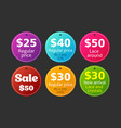 collection symbols such as sale regular price vector image