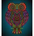 colorful hand drawn ornate owl in entangle style vector image vector image