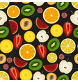 colorful sliced various fruit summer seamless dark vector image vector image