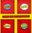 comic pages red set vector image vector image