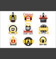 craft beer set logo design templates vector image vector image
