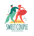 dancing couple stilysed people with music notes vector image