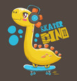 dino listening to music on skateboard vector image vector image