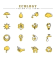 Ecology yellow fill icons set vector image vector image