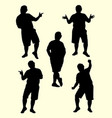 fat man gesture silhouette 02 vector image vector image