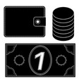 financial icons wallet coins money black vector image vector image