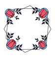 flowers badge decoration vector image vector image