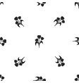 flowers pattern seamless black vector image vector image